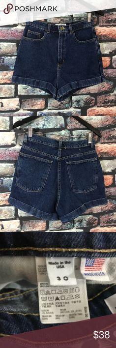 "American Apparel Jeans High Waisted Cuffed Shorts American Apparel Jeans High Waisted Cuffed Shorts  Size 30 Dark Wash Denim   Waist- 28"" Hips- 39"" Inseam- 2"" Length-  13""  p31 American Apparel Shorts Jean Shorts"