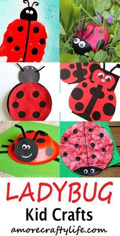 ladybug kid crafts - bug crafts for kids- ladybird insect - amorecraftylife.com #preschool #craftsforkids #kidscrafts Diy Crafts For Tweens, Fun Arts And Crafts, Summer Crafts For Kids, Crafts For Kids To Make, Christmas Crafts For Kids, Toddler Crafts, Craft Kids, Classroom Crafts, Preschool Crafts