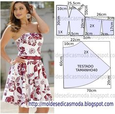 A exemplo de outros modelos vou publicar o molde de vestido tropical a pedido de… Summer dress Diy idea how to make tutorial sew pattern Mod@ en Line (This pattern looks like it's work for a few of those dresses I pinned earlier. Strapless and structure Sewing Dress, Dress Sewing Patterns, Diy Dress, Sewing Patterns Free, Sewing Clothes, Clothing Patterns, Diy Gown, Vestido Strapless, Strapless Dress Formal