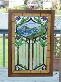 Stained Gl Panel Window Sailboat Art Nouveau Wood Frame Hanging Large