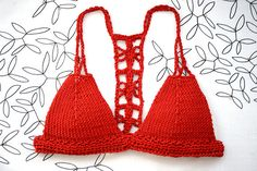Halter crochet top Crochet bikini top Red Crochet bra by MarryG