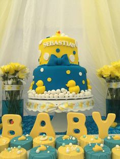 Rubber ducky baby shower party! See more party planning ideas at CatchMyParty.com!