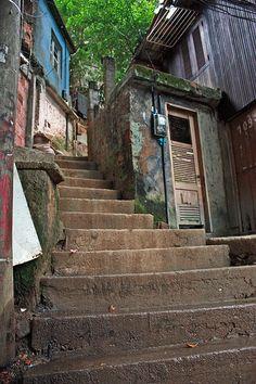 Stairs to a Doorframe in Rocinha Favela - Rio de Janeiro Scenary Paintings, Favelas Brazil, Folk Religion, City By The Sea, Supreme Wallpaper, Interior Garden, City Aesthetic, City Landscape, Built Environment