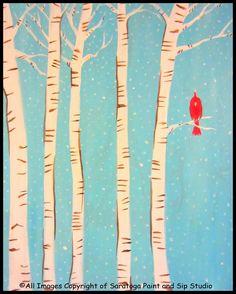 SOLO CARDINAL at Saratoga Paint & Sip Studio. Birches, blue sky, and a bird!!!