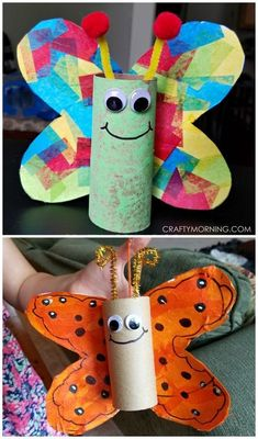 Cardboard tube butterfly craft for kids to make! Perfect for spring or summer. Use toilet paper rolls or paper towel rolls.