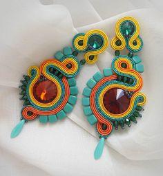 Excited to share the latest addition to my #etsy shop: Colorful earrings boho soutache earrings, Long green orange earrings, emerald earrings, colorful beaded earrings, Soutache jewelry http://etsy.me/2ELkzu9 #soutache #sutaszula