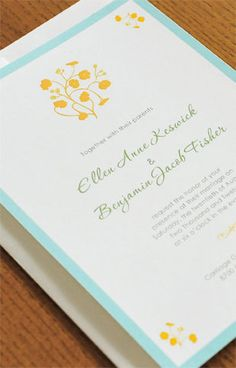 100% recycled paper wedding invitations, enclosure cards, reply cards, menus, escort cards, and thank you cards.