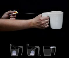 The Tea Cup SlingsHOT    The slit in the handle keeps the tag from falling in and allows the user to squeeze the liquid out of the soaked bag simply by pulling back as you would a slingshot. Just be careful not to pop yourself in the eye!    Designer: Samir Sufi