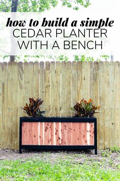 How to build a gorgeous DIY cedar planter with a built-in bench. This project is great for beginners and will look amazing in your backyard! Cedar Planters, Diy Planters, Diy Valentine's Pillows, Outdoor Projects, Diy Projects, Woodworking Projects, Outdoor Cabana, Backyard Playhouse, Diy Bench