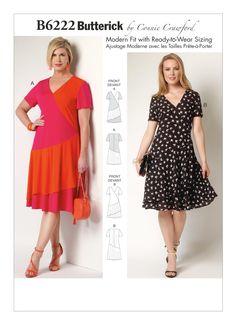 f9e525b11942 B6222 | Misses'/Women's Mock-Surplice Dresses Sewing Pattern | Butterick  Patterns
