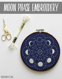 A stitched up version of a moon embroidery pattern from CozyBlue, using glow in the dark floss from DMC - I share a few views of the sashiko stitching! Such a lovely beginner embroidery pattern and fun to stitch. #embroidery #moonphases #sashiko