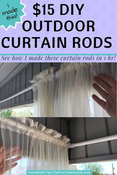 I made these PVC pipe curtain rods to hold long, sheer porch curtains for $15. Got the supplies at Lowes, measured, cut, and installed the outdoor curtain rods in 1 hour! diy curtains   diy projects   curtains   porch Screened Porch Curtains, Outdoor Curtains For Patio, Balcony Curtains, Ceiling Curtains, Privacy Curtains, Diy Curtains, Hanging Curtains, Outdoor Privacy, Privacy Screens