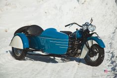 Gorgeous blue Indian Four with sidecar