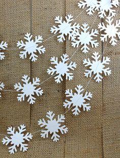 Simple Snowflake Garland 10ft.  ///////  Christmas Decor // Winter Snowflake Garland // White Winter Wedding // White Christmas //. $12.50, via Etsy.