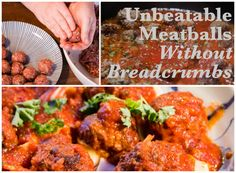 Delicious meatballs are possible without breadcrumbs! Whether you don't eat breadcrumbs or none are readily available, try this recipe plus a savory tomato sauce garnished with parsley and spices.