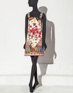 Robe trapèze avec motif foulard éventails | boutique en ligne dolce&gabbana