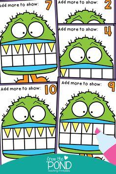 Ten Frames and Monsters! Ten Frames and Monsters! Numbers Kindergarten, Kindergarten Math Worksheets, Preschool Math, Kindergarten Classroom, Ten Frame Activities, Math Activities, Maths Eyfs, Numeracy, Division Math Games