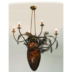 29.5 Inch W Pinecone 5 Arm Chandelier - Custom Made. 29.5 Inch W Pinecone 5 Arm ChandelierA large lighted Pinecone constructed of hand cut Bark Brown granite glass is adorned with Pine bough covered arms that terminate in elegant simulated wax candles.This handsome five arm chandelier has an Antique Copper and a rustic lodge appeal. All metal work is handcrafted in the USA by Meyda artisans. Theme:  RUSTIC LODGE ART GLASS Product Family:  Pinecone Product Type:  CEILING FIXTURE Product...
