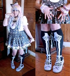 Get this look: http://lb.nu/look/6782668 More looks by PastelKawaii Barbie: http://lb.nu/user/1477423-PastelKawaii-B Items in this look: Hypnotic Sweet Treats Creepy Candy Salopette, Ebay Skeleton Songs, Minkyshop Lavender Teaparties, Gothic Lolita Wigs Pastel Rainbow Wig, Bodyline White Blouse, Hypnotic Sweet Treats Candyeyeball, Handmade Eyeball Cuffs #creepycandy #hypnoticsweettreats #creepycute #fairykei