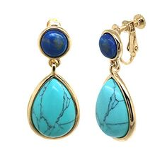 Sparkly Bride Teardrop Multi Color Blue Resin Gold Plated