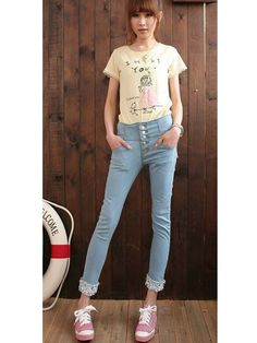 High Waist Skinny Jeans Skinny Jeans Style, Cheap Jeans, Korean Fashion, High Waist, T Shirts For Women, Tops, K Fashion, Shell Tops, Korean Fashion Styles