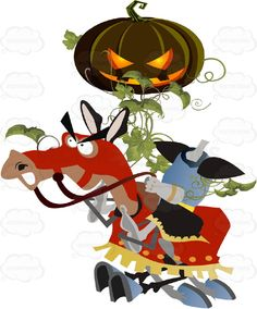 A Headless Horsemen Gallops On An Orange Covered Horse While Holding An Evil Lit jack-o'-lantern Pumpkin Above It's Body Covered in Vines #autumn #candy #celebration #chase #costume #crane #creature #fall #fright #halloween #haunt #holiday #hollow #horror #horse #ichabod #jackolantern #legend #monster #night #nightmare #october #PDF #pumpkin #scare #sleepy #spooky #trickortreat #vectorgraphics #vectors #vectortoons #vectortoons.com