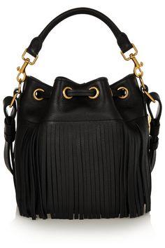 Saint LaurentEmmanuelle small fringed leather bucket bag