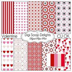 Valentine Clip Art Pink & Red Digital by DigiScrapDelights on Etsy #clipart #valentine #pink #red #hearts