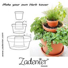Make your own herb tower. www.zadenier.com