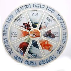 The Rosh Hashana Plate . Glass. 13 1/2 inches.Traditional foods eaten on the holiday.
