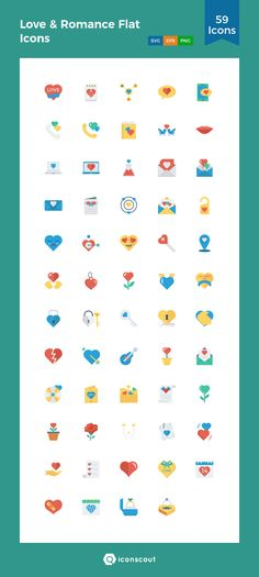 Love & Romance Flat Icons  Icon Pack - 59 Flat Icons
