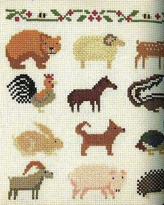 Out-of-print Small Embroidery Sampler Cross-Stitch Accents - Japanese craft book Tiny Cross Stitch, Cross Stitch Samplers, Cross Stitch Animals, Counted Cross Stitch Patterns, Cross Stitching, Embroidery Sampler, Diy Embroidery, Cross Stitch Embroidery, Kids Patterns