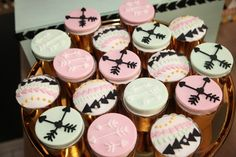 Boy and Girl Aztec Birthday Party Cupcake Ideas