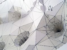 DETHJUNKIE - some kind of topographical paper thing that looks cool. Cardboard Sculpture, Sculpture Art, Geometric Sculpture, Geometric Form, Geometric Designs, Paper Art, Paper Crafts, Art Japonais, Paper Folding
