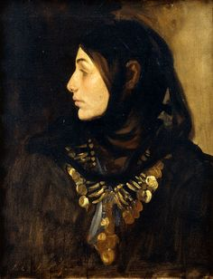 JOHN SINGER SARGENT A Fellah Woman dark arab HEADDRESS peasant necklace NEW!!