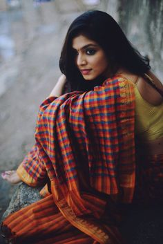 Colorful Checked Saree from the Scarlet Window