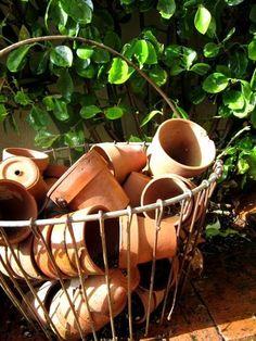 Basket full of pots.  Planting time!