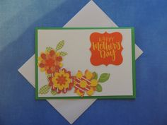 Mother's Day Card - Orange Stitched Flowers - Free Shipping by LagniappeEmporium on Etsy