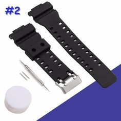 >> Click to Buy << 2pcs/lot Black Watch Bands 16mm Silicone Rubber Replacement Watch Straps Set With Stainless Steel Buckle 2pcs pins Tools #Affiliate