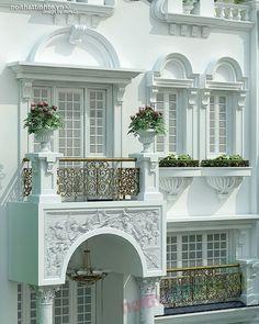 Mặt tiền nhà phố đẹp 06 Classic House Exterior, Classic House Design, Modern Farmhouse Exterior, Front Wall Design, Window Design, Exterior Design, Interior And Exterior, Balcon Juliette, Balcony Grill