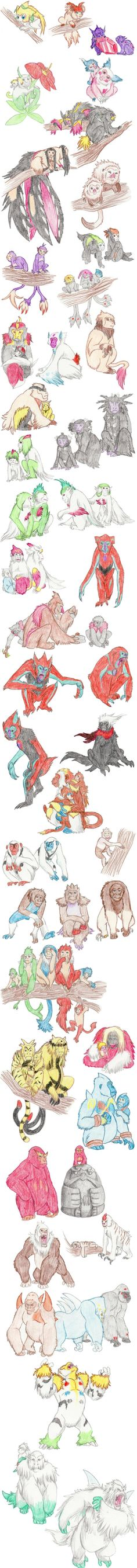 Primate Pokemon by DragonlordRynn on DeviantArt Pokemon Pins, Pokemon Memes, Pokemon Fan Art, My Pokemon, Pokemon Na Vida Real, Pokemon In Real Life, Deviantart Pokemon, Pokemon Breeds, Aliens