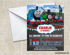 Thomas the Tank Engine birthday party invitation, Thomas the train invitation, Thomas and Friends chalkboard invitation