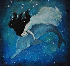 blue - woman with dolphin - painting - Lucy Campbell