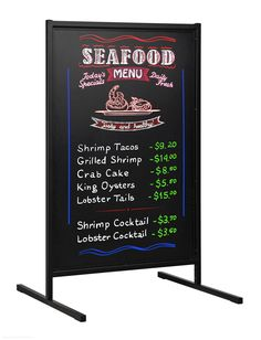 A-Frame blackboard has slide-in design to easily switch over blackboards or write messages on flat surfaces. Dual-sided 900 x blackboards allow for messages on both sides to reach more people. Coffee Chalkboard, Blackboard Menu, Diet Food List, Food Lists, Exhibition Display Stands, Cafe Menu Design, Restaurant Signs, Menu Boards, Shrimp Tacos
