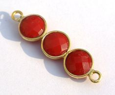 Coral Red Chalcedony 3Pcs Faceted Coin Bezel by RareGemsNJewels