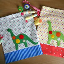 Drawstring Bags   Dino Party Appliqué