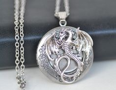 Tone Dragon Vintage Silver Round Picture Locket Charm Pendant Necklace L089 | eBay