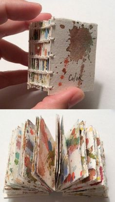 Traci Jones& watercolor book - Cutting up a parent sheet that you& painted (on both side) and then making a book is quite satisfying& Handmade Journals, Handmade Books, Paper Book, Paper Art, Watercolor Books, Buch Design, Book Sculpture, Book Projects, Book Binding