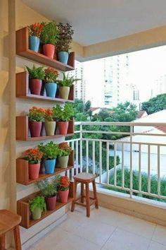 Horta em vasos coloridos sobre prateleiras de madeira