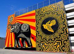 Massive Fairey's mural in West Hollywood. #streetart #hollywood #redbull